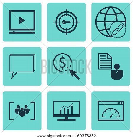 Set Of 9 Marketing Icons. Can Be Used For Web, Mobile, UI And Infographic Design. Includes Elements Such As Conference, Performance, Link And More.