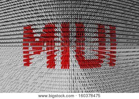 MIUI in the form of binary code, 3D illustration