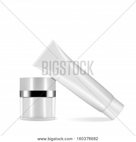 Set of cosmetic products on a white background. Cosmetic package collection for cream soups foams shampoo