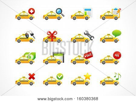 Vector icons online taxi phone call business. Taxi cab, web signs, book a trip, auto keys, sale, search, directions, discount, trip, gift, price, car alarm system, spanner, contact us, chat, radio.