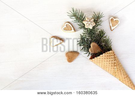 fireworks gingerbread hearts of waffle cone with Christmas tree / faerie winter holiday