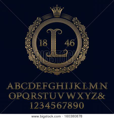 Lattice patterned gold letters and numbers with initial monogram in coat of arms form. Decorative patterned font for logo design. Isolated english vintage alphabet figures.