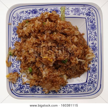 Chinese Food. Rice With Vegetables In Soya Sauce