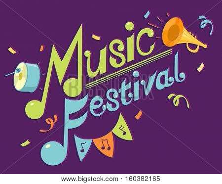 Typography Illustration Featuring the Phrase Music Festival Surrounded by Musical Instruments