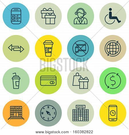 Set Of 16 Traveling Icons. Can Be Used For Web, Mobile, UI And Infographic Design. Includes Elements Such As Dollar, Arrows, Card And More.