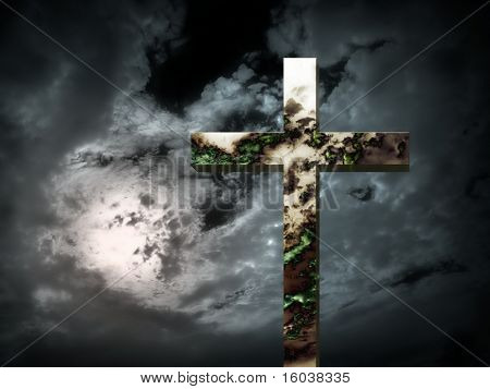 Strange skys reflected in a cross: End Times?