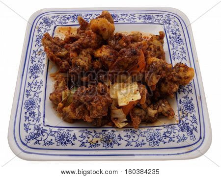 Chinese Food. Hot Dry Veal With Vegetables