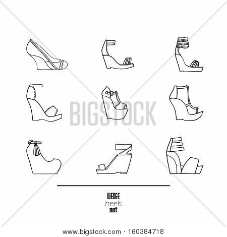 Wedge heels and sandals set. Vector illustration hand drawn with black ink and isolated on white background. Fashion set with decorated with seam shoes on high wedges. Contemporary fashion collection.