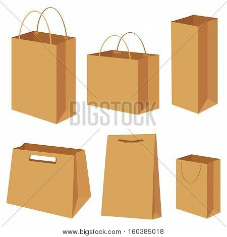 Bag paper container box packing shopping commercial gift shop store empty blank package types different set setting collection. Vector closeup side view brown illustration isolated white background