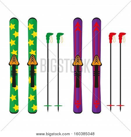 Ski and sticks vector illustration isolated on white background. Ski winter sport equipment snow mountain tools leisure. Cold extreme fun active winter skiing sport recreation.
