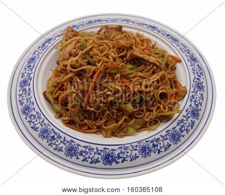 Chinese Food. Noodles With Pork And Vegetables
