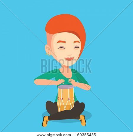 Young woman with eyes closed playing ethnic drum. Caucasian mucisian playing ethnic drum. Woman playing ethnic music on tom-tom. Vector flat design illustration. Square layout.