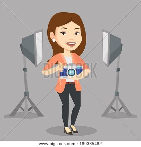 Caucasian female photographer holding a camera in photo studio. Photographer using professional camera in the studio. Young photographer taking a photo. Vector flat design illustration. Square layout.