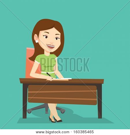 Young journalist sitting at the table and writing notes in notebook. Journalist writing an article. Caucasian journalist working at the table in office. Vector flat design illustration. Square layout.