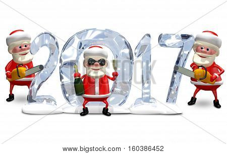3D Illustration a Three Santa Claus and Ice Figures