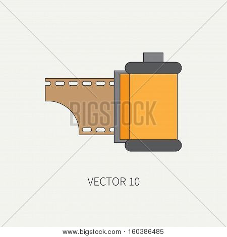 Line flat vector icon with film for retro analog cameras. Photography and art. Reflex 35mm photocamera. Cartoon style. Illustration , element for your design. Photographic lens. Simple. Color. Bobbin.