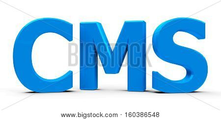 Blue CMS Content Management System symbol or icon isolated on white background three-dimensional rendering 3D illustration