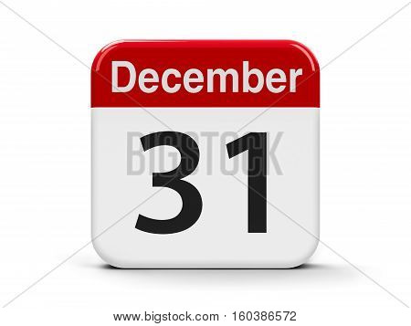 Calendar web button - The Thirty First of December three-dimensional rendering 3D illustration
