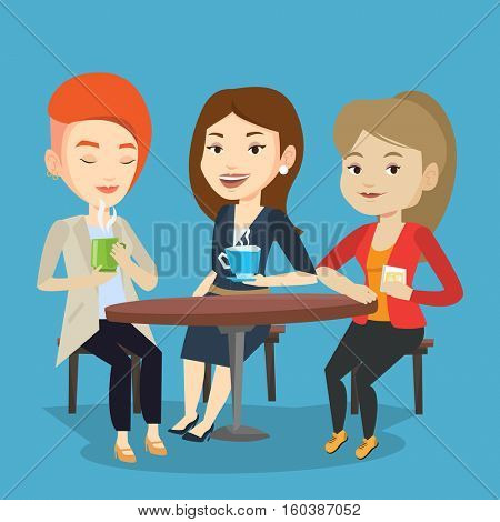 Group of young caucasian friends drinking hot and alcoholic drinks. Three smiling friends hanging out together in a cafe. Friends relaxing in cafe. Vector flat design illustration. Square layout.