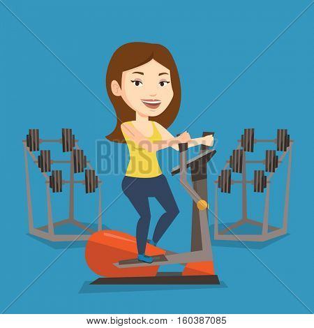 Caucasian woman exercising on elliptical trainer. Woman working out using elliptical trainer in the gym. Woman doing exercises on elliptical trainer. Vector flat design illustration. Square layout.