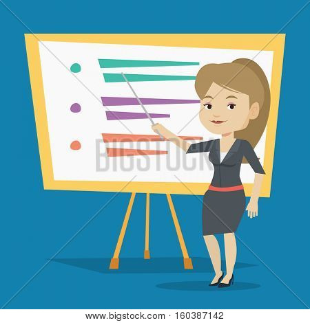 Happy caucasian teacher standing in front of board with a pointer. Smiling teacher standing with a pointer in classroom. Young teacher with pointer. Vector flat design illustration. Square layout.