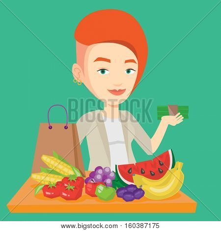 Caucasian female shopper standing at the table with grocery purchases. Young shopper holding money in hand in front of table with grocery purchases. Vector flat design illustration. Square layout.