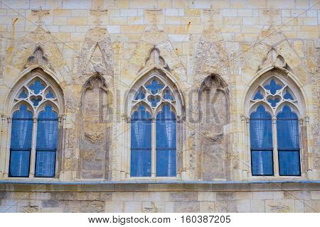 Prague, Czechia - November, 21, 2016: front of a building on Old Town Square in Prague, Czechia