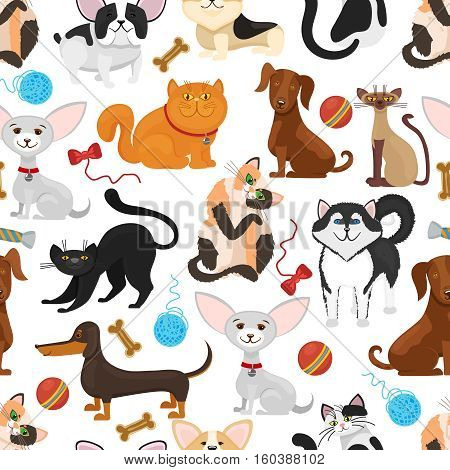 Pet vector background. Dogs and cats seamless pattern. Pets kittens and puppies, pedigree pet with toys illustration