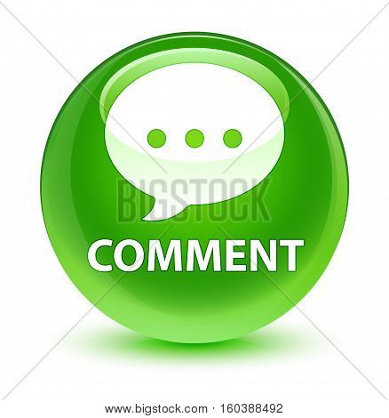 Comment (conversation Icon) Glassy Green Round Button