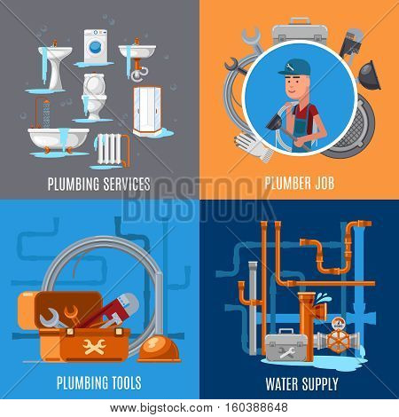Sanitary fix and plumbing vector concept. Plumber job and plubming services illustration