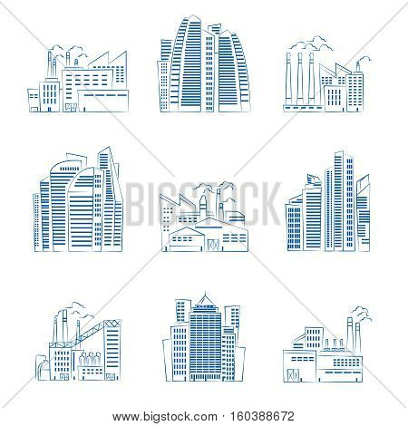 Hand drawn skyscrapers and industrial buildings. Vector urban city street buildings illustration. Industrial factories and office skyscrapers