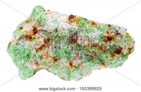 Green Edenite Rock Isolated On White