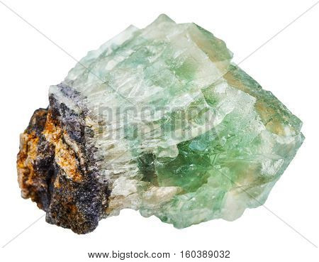 Green Fluorite Crystals Isolated On White