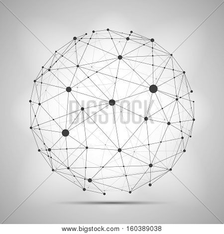 Vector wireframe connecting earth sphere. Globe connection concept. Globe structure connect, illustration of globe network