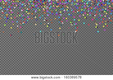 Vector falling confetti horizontal seamless pattern isolated on transparent background, Decoration colored confetti for celebration event, color confetti on checkered backdrop illustration