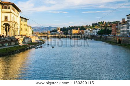 River Arno Bridge Ponte Alle Grazie In Florence