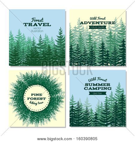 Lumber style poster cards. Nature wild pine forest posters. Banner with green wood. Vector illustration