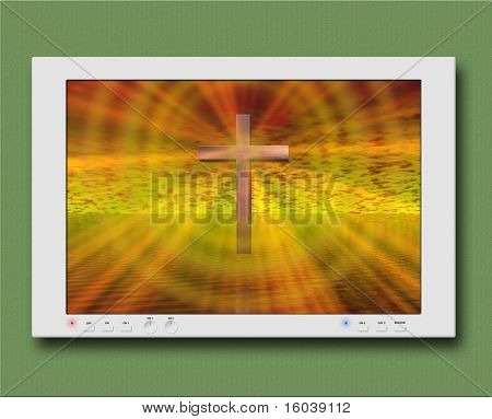 Cross on monitor or TV