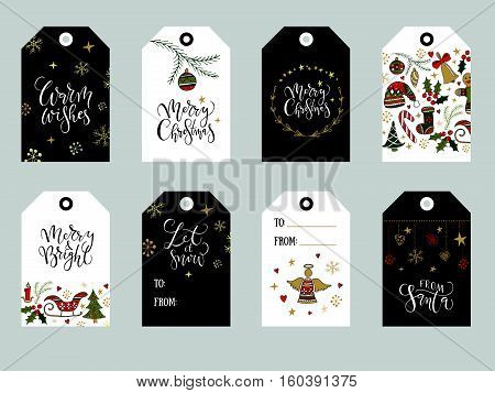 Collection of gold red and black hand drawn Christmas cute ready-to-use gift tags. Hand sketched Merry Christmas text and lettering typography as logotype badge/icon set. Christmas vector lettering typography gift tags. Christmas typography