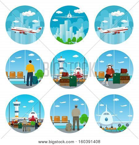 Set of Airport Icons,View on Airplane and Control Tower through the Window from a Waiting Room with People,Airplane Flying in the Sky to the East and West,Luggage Bag,sAirplane in the Sky,Vector