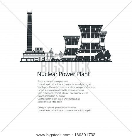 Text and Silhouette Nuclear Power Plant, Thermal Power Station, Nuclear Reactor and Power Lines, Poster Brochure Flyer Design, Black and White Vector Illustration