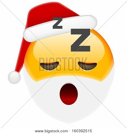 Sleepy Santa Smile Emoticon For Christmas And New Year
