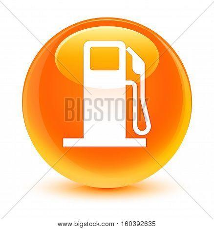 Fuel Dispenser Icon Glassy Orange Round Button