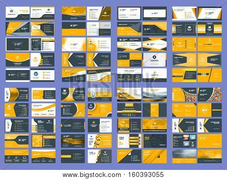 Collection Of Double Sided Business Card Vector Templates. Stationery Design Vector Set
