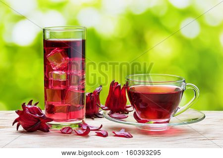 Cup Of Hot Hibiscus Tea (karkade) And The Same Cold Drink