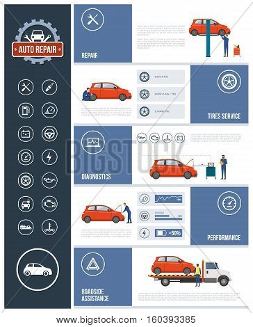 Auto repair service infographic with mechanics working on a car text and icons set: repair tires diagnostics performance roadside assistance