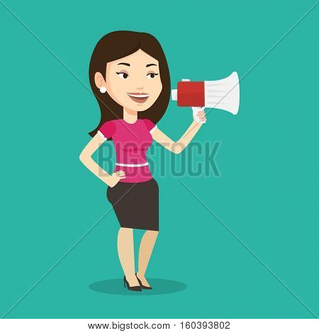 Caucasian woman holding megaphone. Social media marketing concept. Woman promoter speaking into a megaphone. Young woman advertising using megaphone. Vector flat design illustration. Square layout.