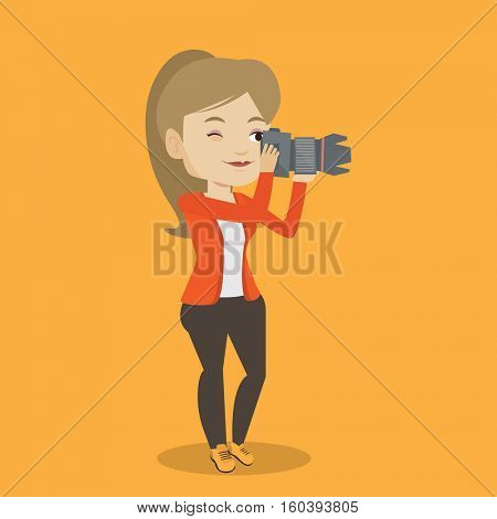 Female photographer taking a photo. Young photographer taking a picture. Caucasian photographer working with digital camera. Vector flat design illustration. Square layout.