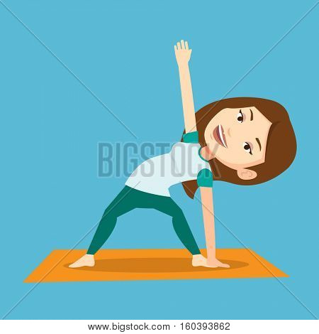 Young sportswoman standing in yoga triangle pose. Caucasian sportswoman meditating in yoga triangle position. Sporty woman doing yoga on the mat. Vector flat design illustration. Square layout.