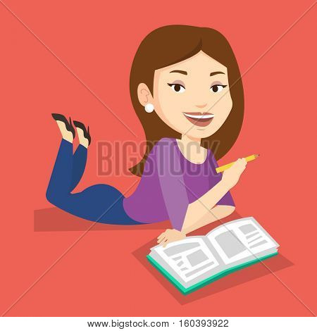 Caucasian student laying on the floor and reading a book. Student laying with notebook. Student writing while laying on the floor. Concept of education. Vector flat design illustration. Square layout.